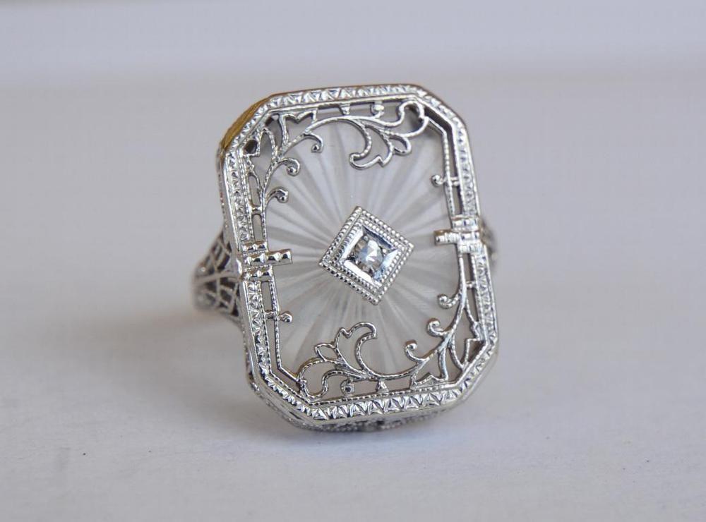 a26504a7a35e Antique 14k White Gold Filigree Diamond Camphor Glass Ring Art Deco Size 6