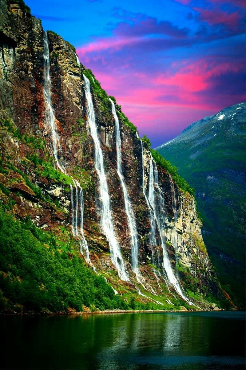 Waterfalls Seven Sisters, Geiranger fjord, Norway.