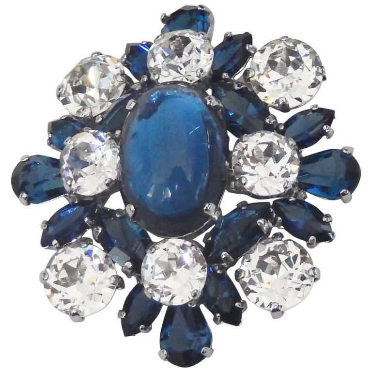 1959 Christian Dior Faux Sapphire and Diamond Brooch | From a unique collection of vintage brooches at https://www.1stdibs.com/jewelry/brooches/brooches/