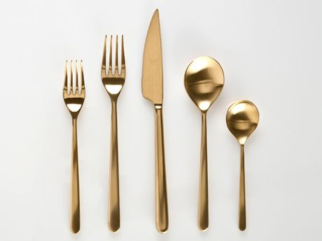 Linea Ice Oro Five Piece Place Setting Gretelhome . Com The Brushed Gold  Finish Of Linea Ice Oro Is Incredibly Glamorous While Its Contemporary  Lines Keep ...