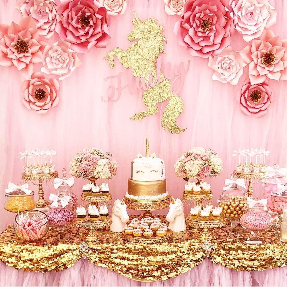 decoration wedding christening birthday babyshower 15 Golden glitter unicorns