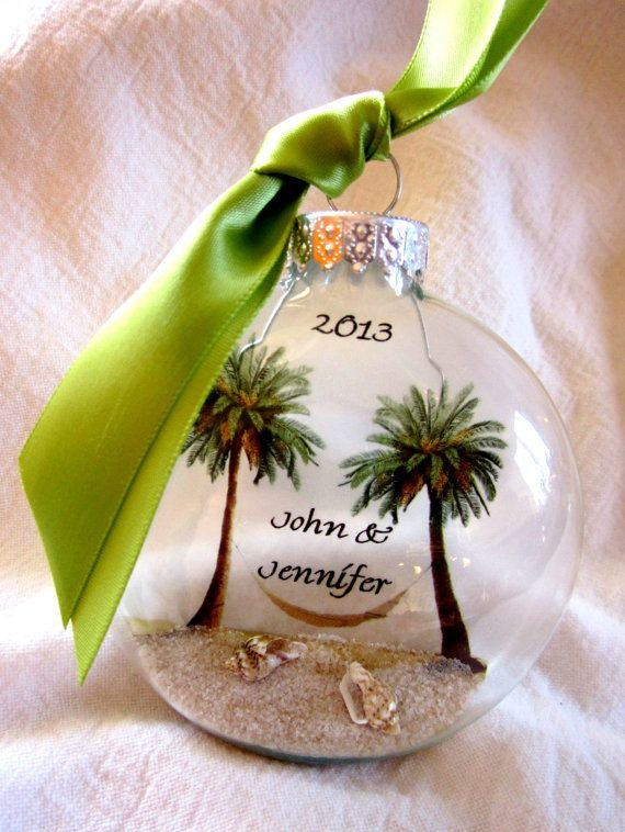 Mr mrs custom first christmas wedding holiday glass by for Engagement christmas tree ornaments