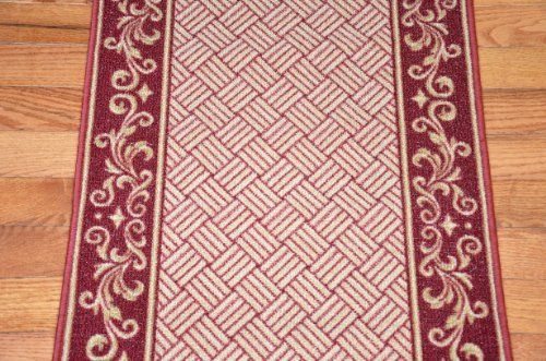 Cranberry Scroll Border Washable Non Skid Carpet Rug Runner Purchase By The Linear Foot By Dean Flooring Company Area Rug Pad Rugs On Carpet Carpet Runner