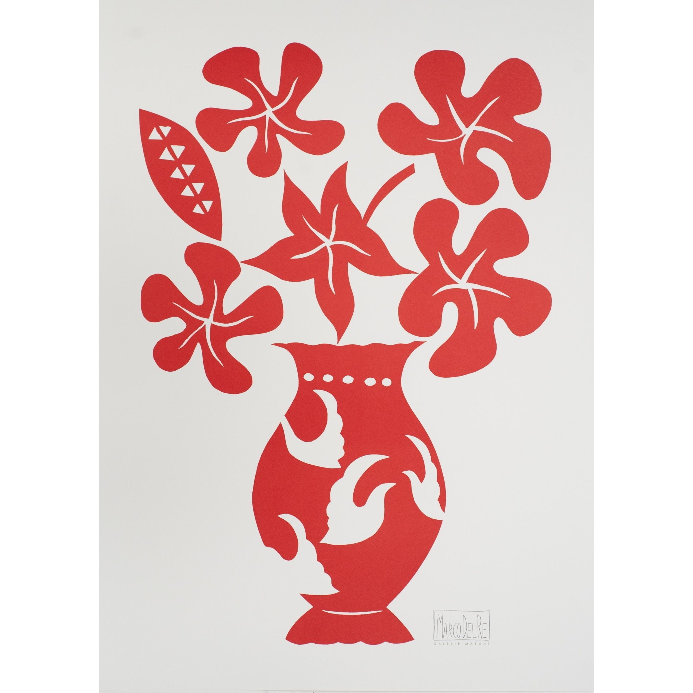 Marco Del Re \'Vase I Rouge-2008\' Offset Lithograph, 30 x 22 inches ...