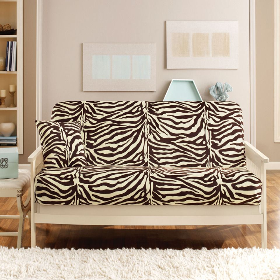 Room Sure Fit Velvet Zebra Futon