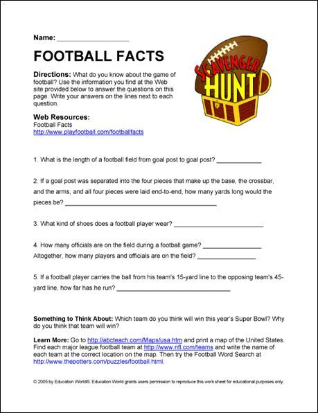 Football Facts Sheet Use With The Trivia Contest Football Trivia Football Trivia Game Internet Scavenger Hunt