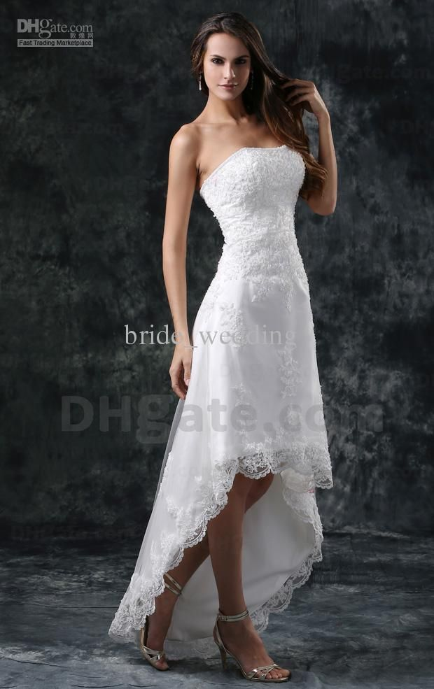 Elegant Short Front Long Back Wedding Dresses A Line Lace Beaded Strapless Hi Lo Beach Dress