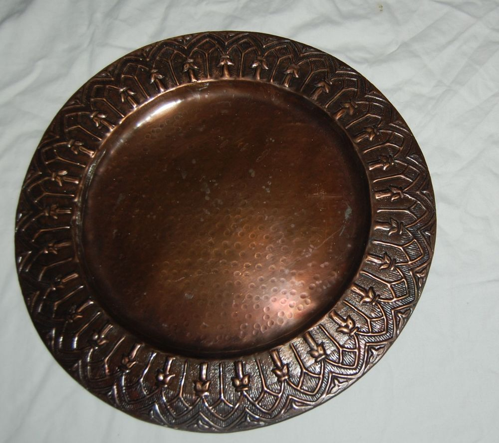 Vintage Solid Hammered Copper Serving Tray Platter Plate 14.5 Decorative  Edge