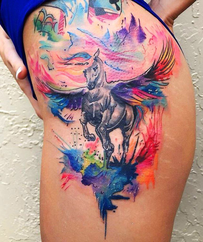 Unicorn Watercolor Hip Tattoo Ideas MyBodiArt Unicorn