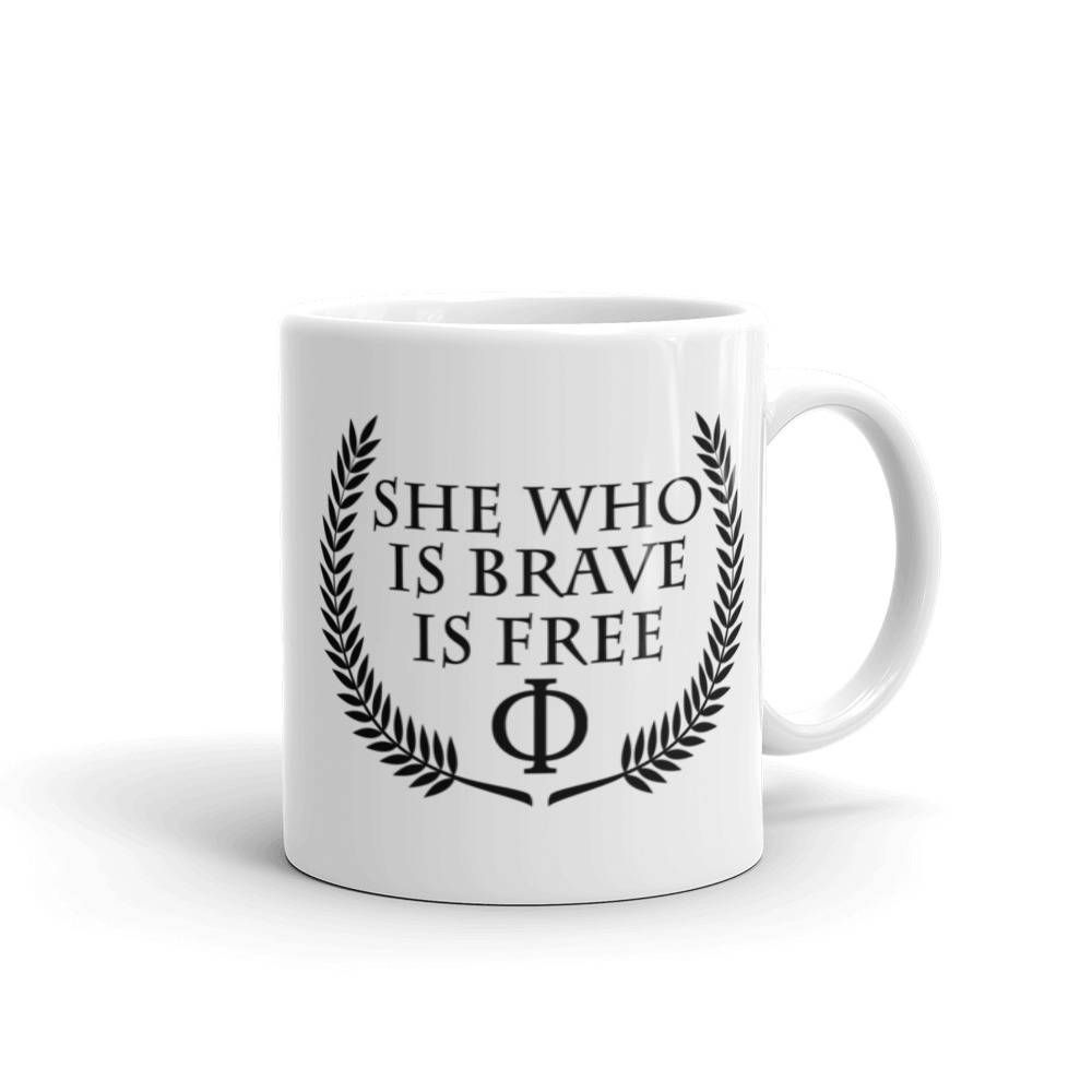 """Stoicism Quote Coffee Mug with """"She who is brave is free ..."""