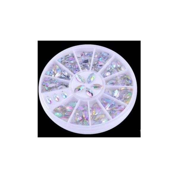 Shiny Oval Rhinestone Acrylic Nail Art Decoration Wheel (10 BRL) via Polyvore featuring beauty products, nail care, nail treatments, nail decoration e white
