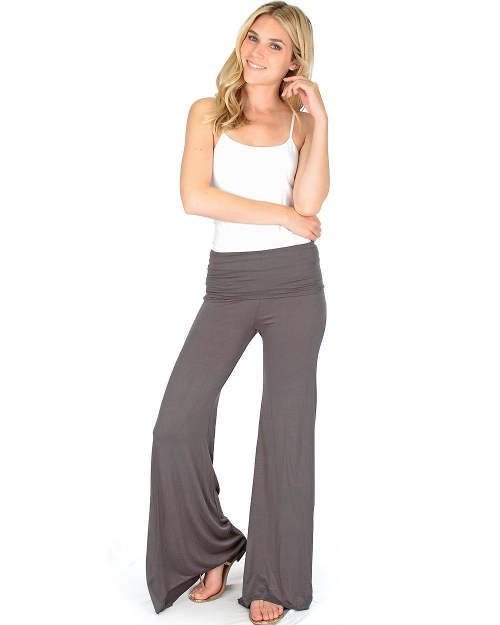 Fold-Over Palazzo Flare Pants In Charcoal