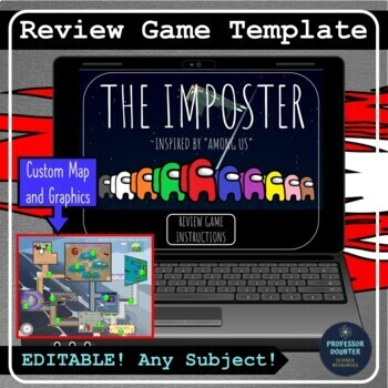 New This Review Game Template Is Inspired By The Popular Online Game Among Us And Requires Students To Complete 12 Tas In 2020 Review Games Classroom Games Imposter