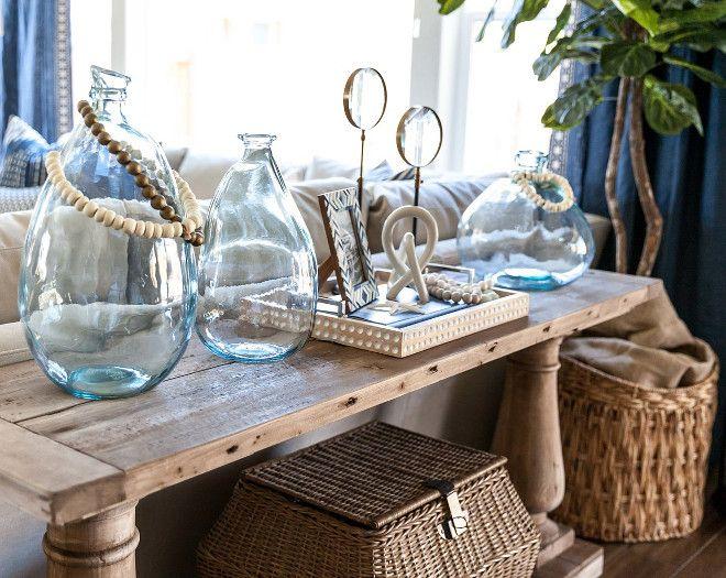 Natural Wood Blue Tinted Bubble Vases Baskets Cozy Nautical Sofa Table Decor Behind - Nautical Sofa Table