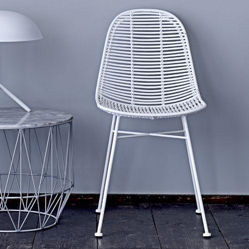 Chaise en rotin et pied en métal Bloomingville Blanc Decoclico
