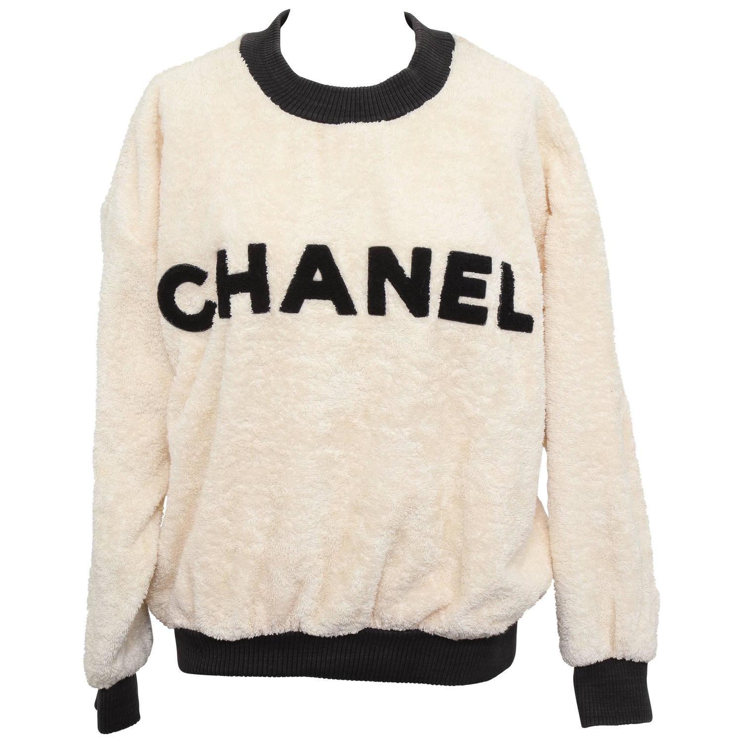 Vintage Chanel Sweat Shirt Sweater with Iconic CC 1980 | Chanel ...