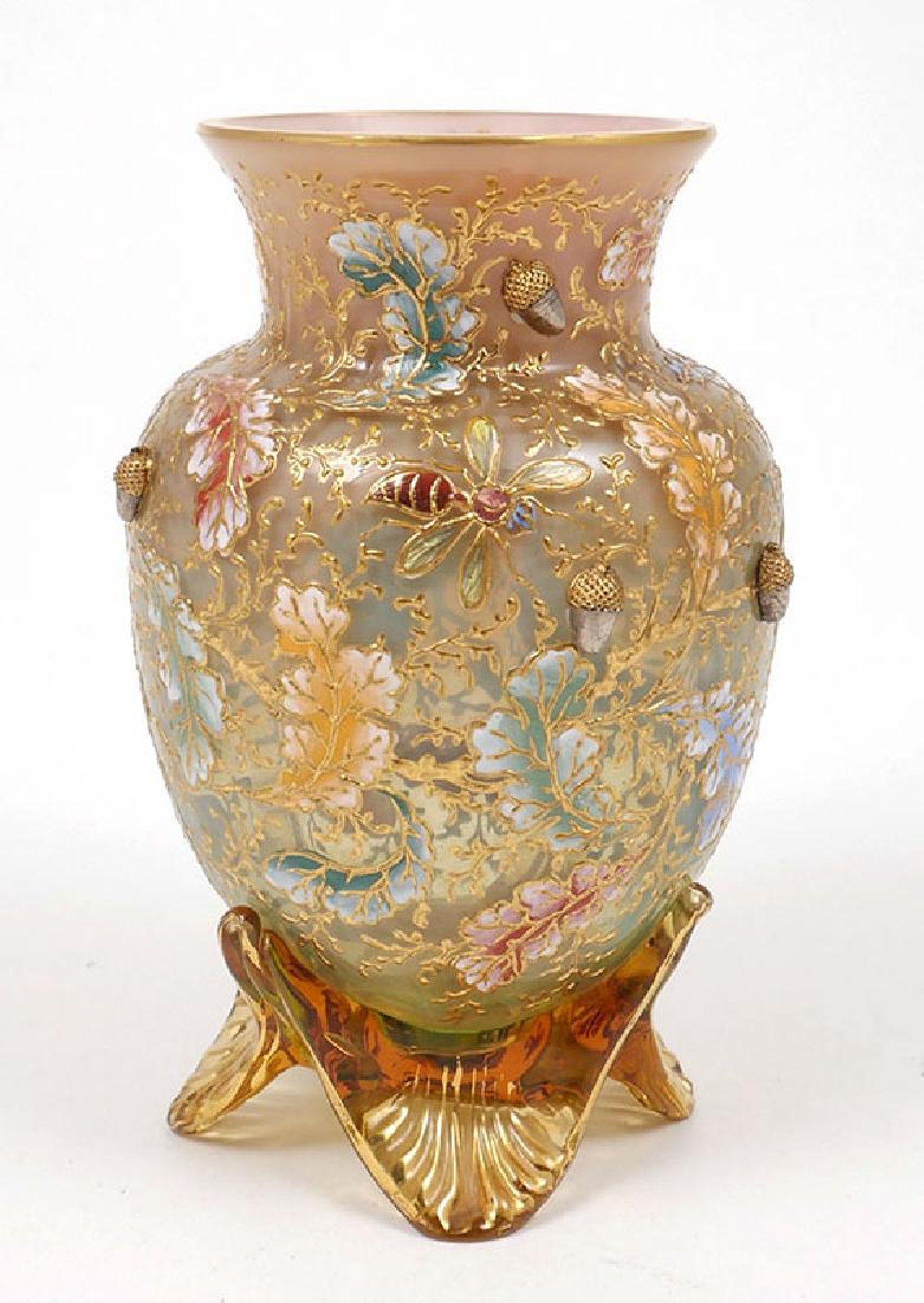 Moser enameled glass acorns footed cabinet vase mostly moser no moser enameled glass acorns footed cabinet vase reviewsmspy