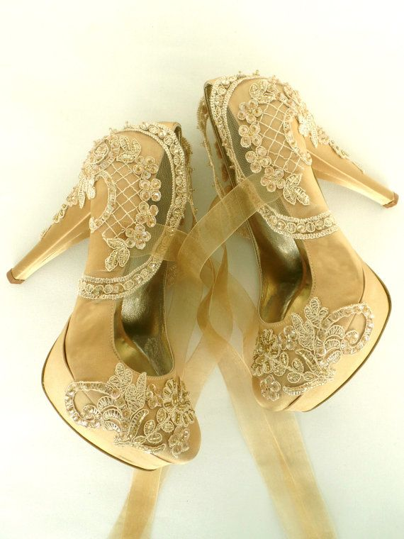 Wedding Shoes Gold Embroidered Lace Bridal