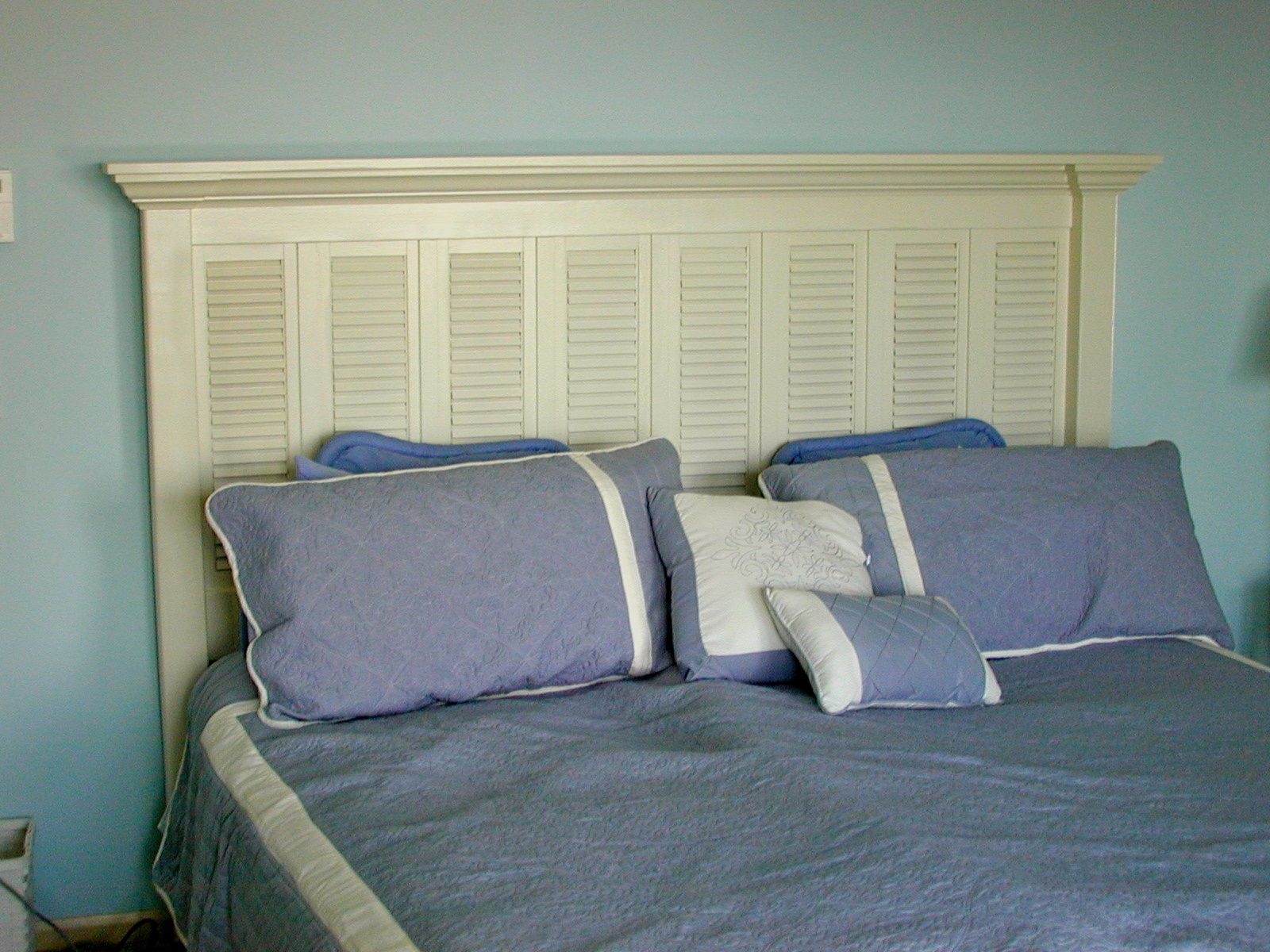 Custom king size headboard built from old window shutters for Unique king headboards