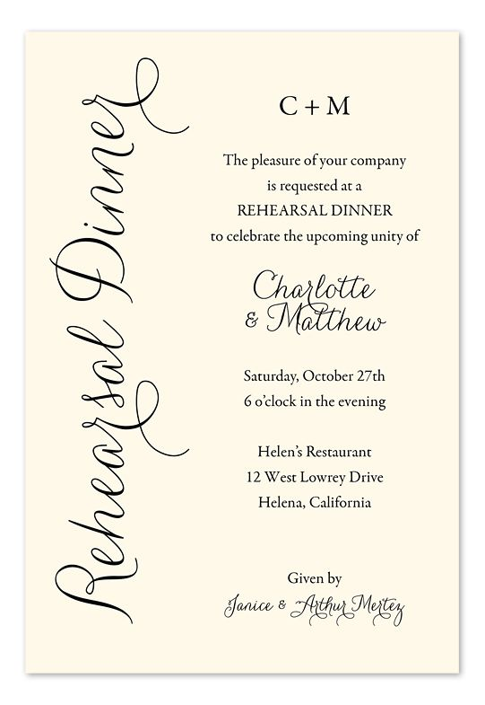 Everyday Charm Rehearsal dinner invitations Dinner invitations