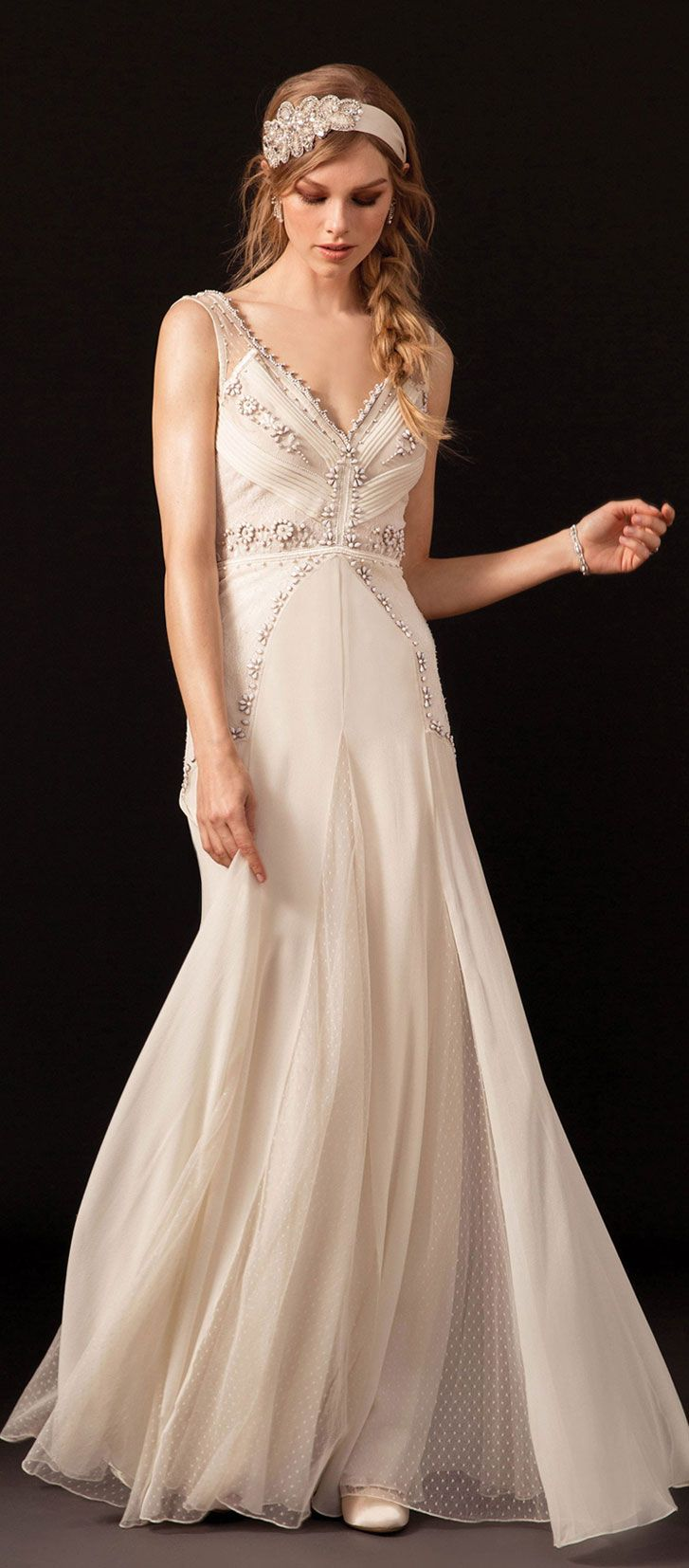 Sleeveless v neckline embellished with tonal pearls fit and flare wedding gown #wedding #weddingdress #weddinggown