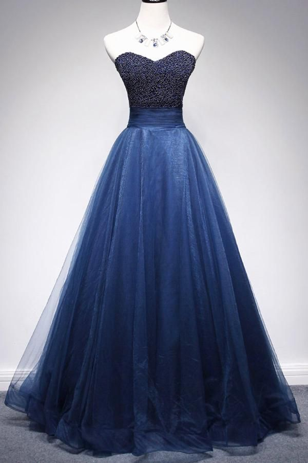 Photo of Gorgeous Tulle A Line Beaded Sweetheart Long Prom Dresses Fo…