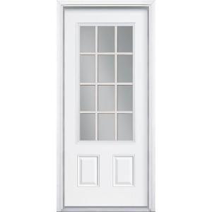 Masonite premium 12 lite primed steel prehung front door for Home depot back doors