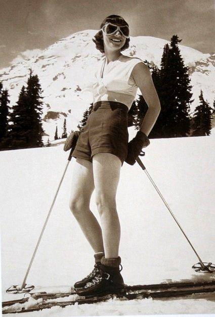 Vintage ski girl wearing shorts Okulary zimowe producent www.americanway.com.pl #american #way #okulary #zimowe #producent
