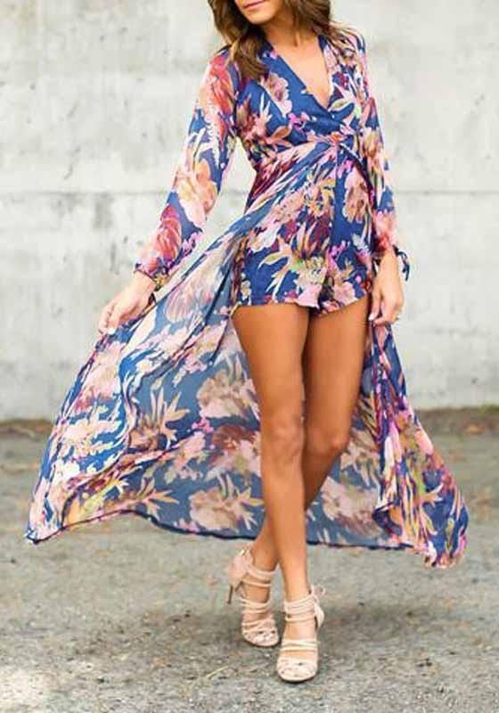 6b7e37d9af5 Light Blue Bohemian Floral Print Deep V-neck Swallowtail Chiffon Romper With  Maxi Overlay