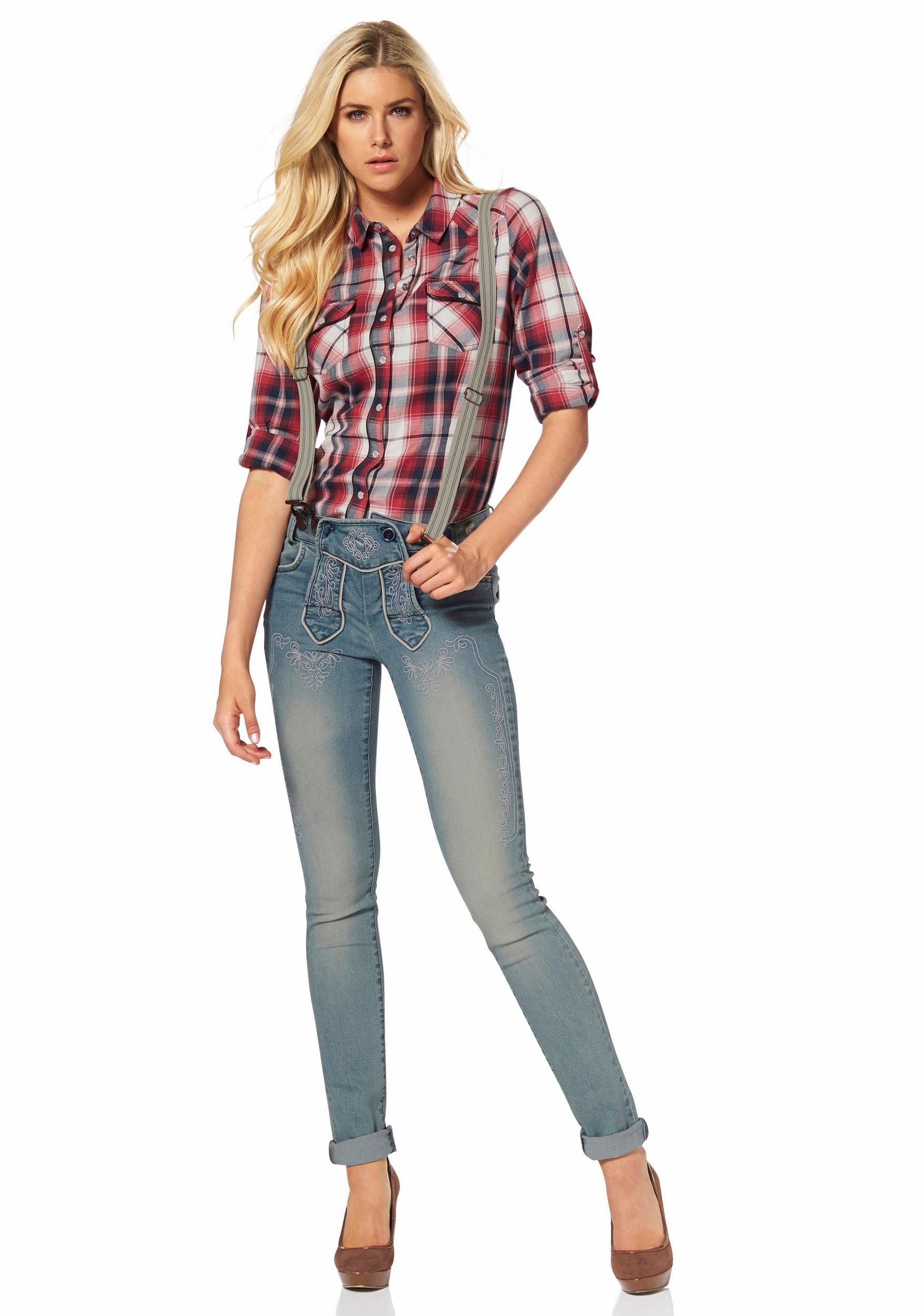 Lederhosenesque jeans with braces country style clothes