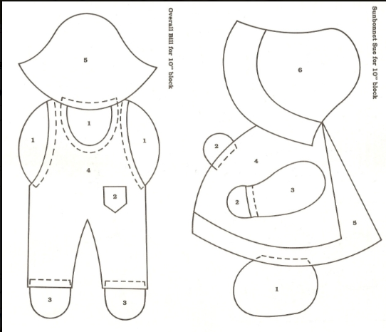 Free Overall Bill Quilt Pattern Found A Free Site For Sunbonnet Magnificent Sunbonnet Sue Patterns