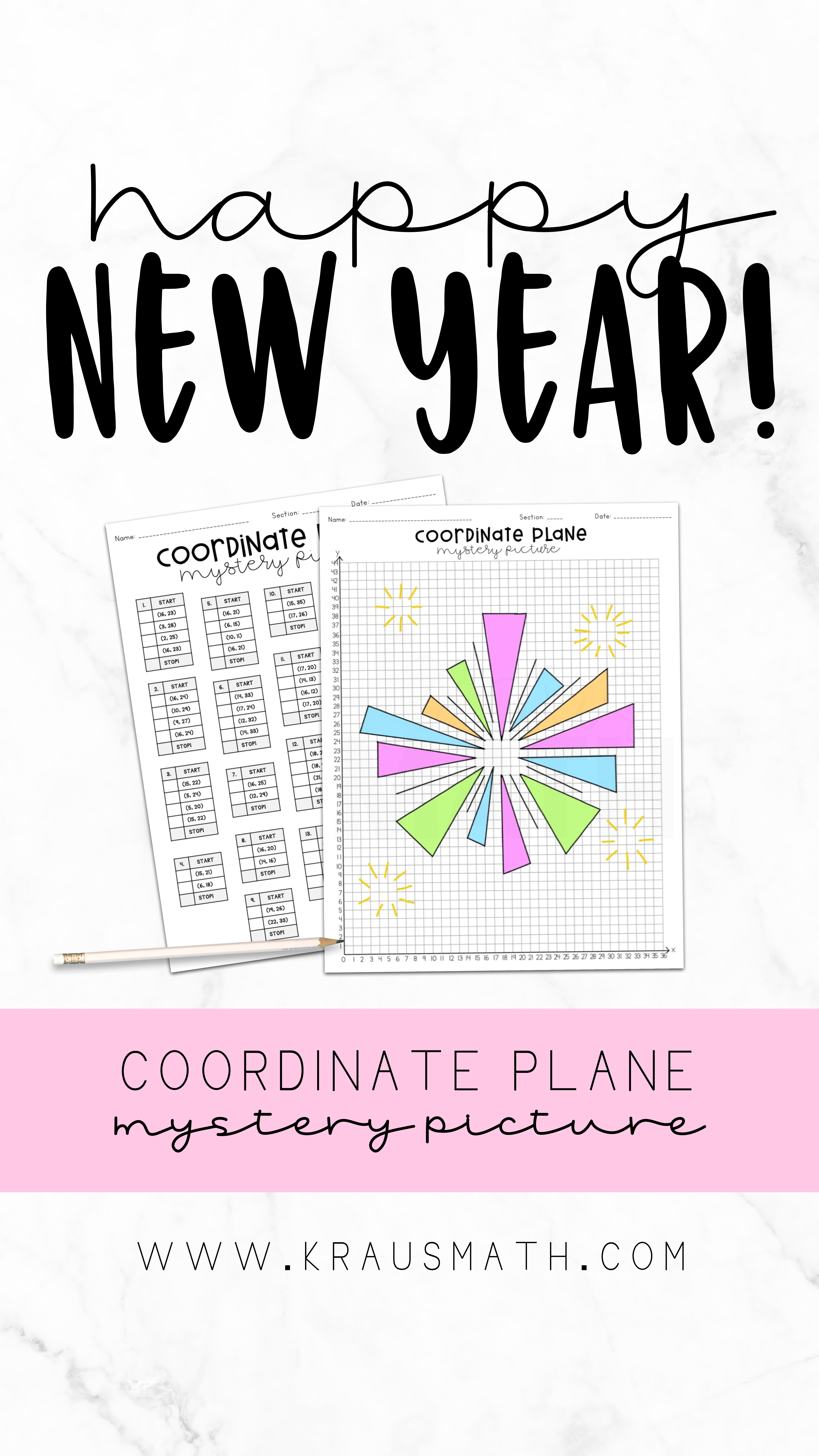 New Years Fireworks Coordinate Plane Mystery Picture 1st
