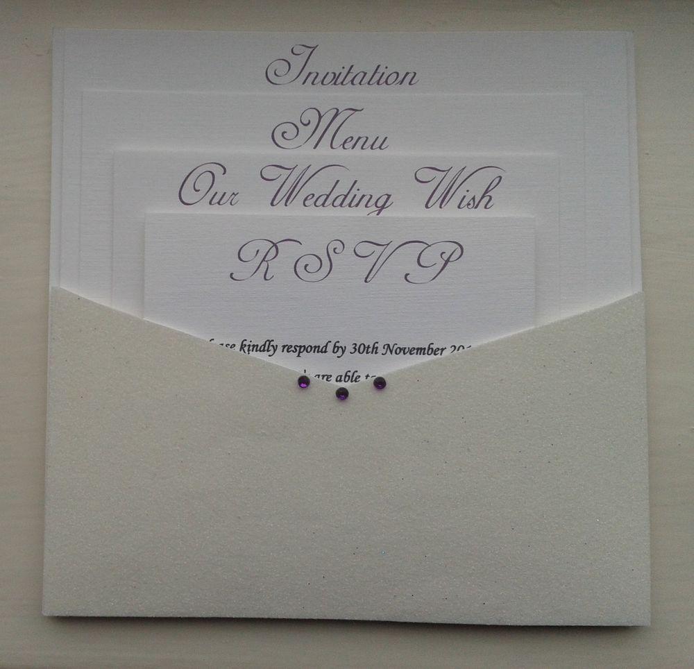 Handmade Wedding Invitations Open Pocket Wallet Glitter & Envelope ...