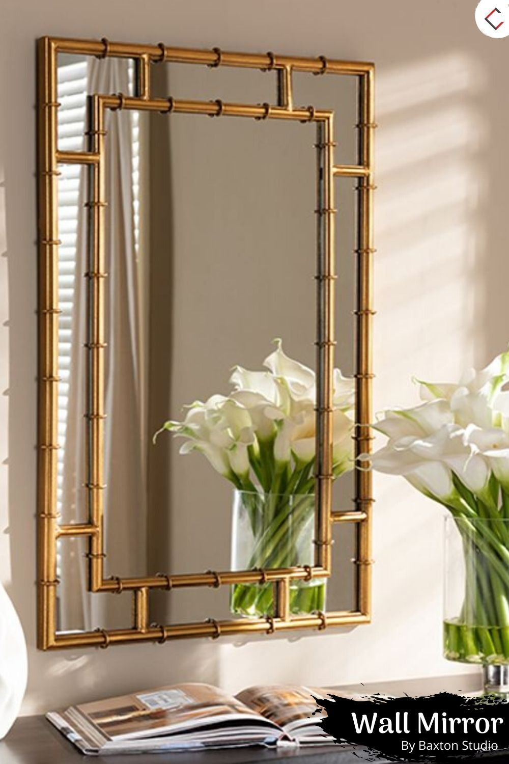 Baxton Studio Adra Antique Gold Accent Wall Mirror In 2020 Bamboo Mirror Gold Mirror Wall Mirror Wall