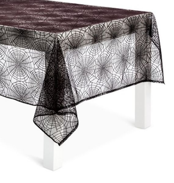 Halloween Lace Tablecloth 60 X 84 Oblong Black Spider Webs Spiders Mantle Decor #Unbranded