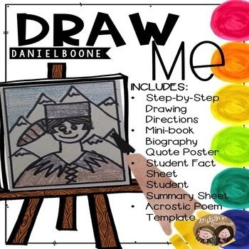 reinforce your students understanding of daniel boone with this draw me product students will complete a directed drawing and can summarize danie