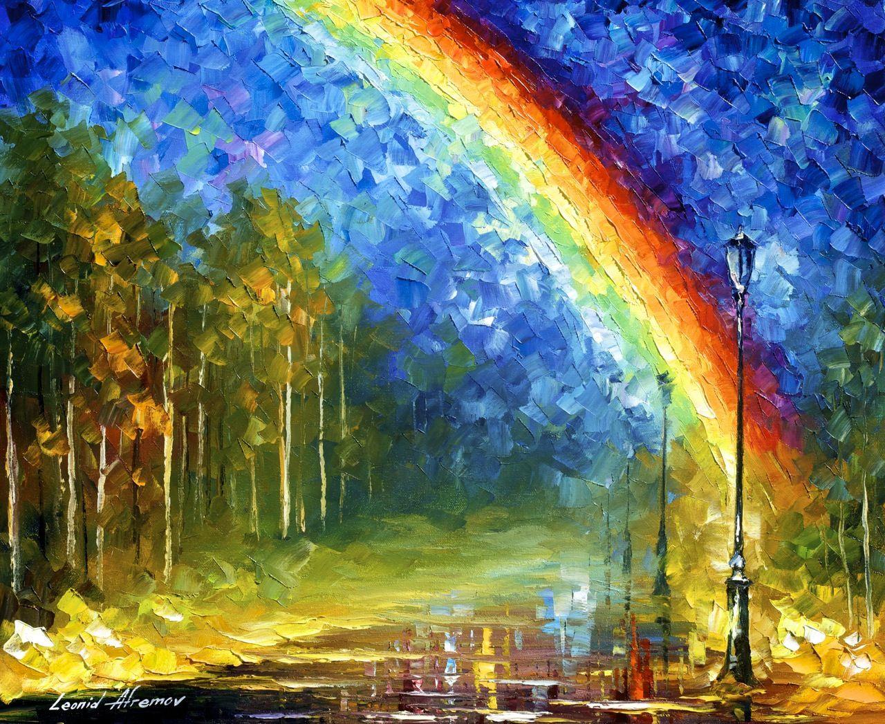 Rainbow landscape original oil pastel drawing - Rainbow Palette Knife Oil Painting On Canvas By Leonid Afremov By Leonid Afremov