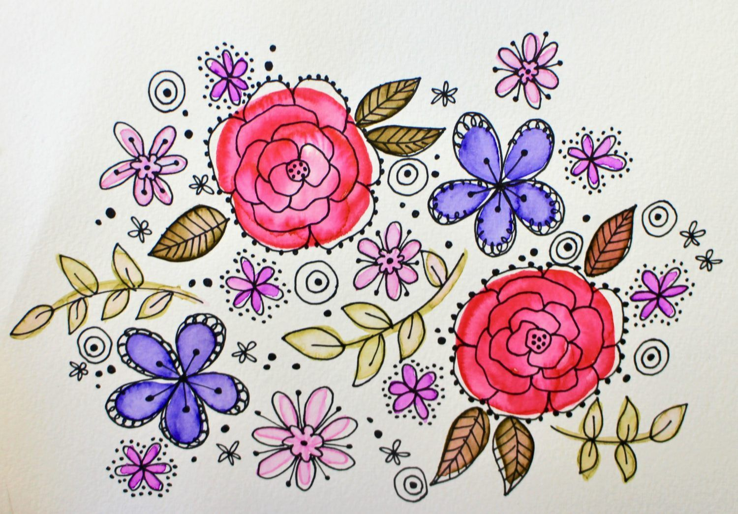 Easy Diy Watercolor Retro Flowers Flower Doodles Drawings