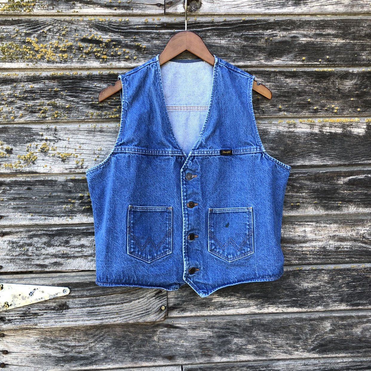 70s Vintage denim vest men L Wrangler western faded blue