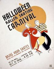 WPA Poster Halloween roller skating carnival Bring your skates : Prizes will be