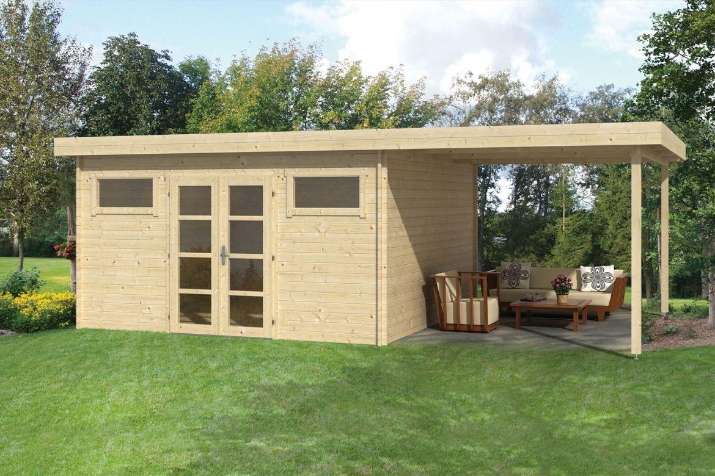 Moderne blokhut met terrasoverkapping tuindeco blokhutten en