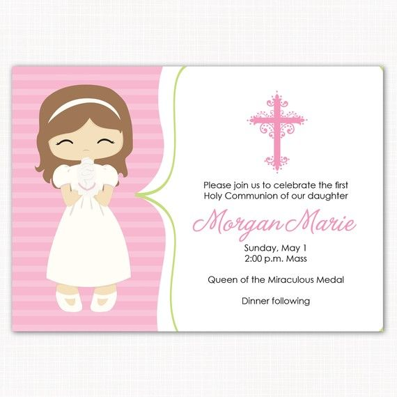graphic relating to First Communion Cards Printable identify 1st communion invitation - very first communion woman - crimson