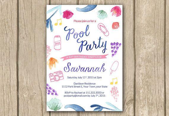 Teenage Girl Pool Party Invitation Tween By Dulcegraceprintables