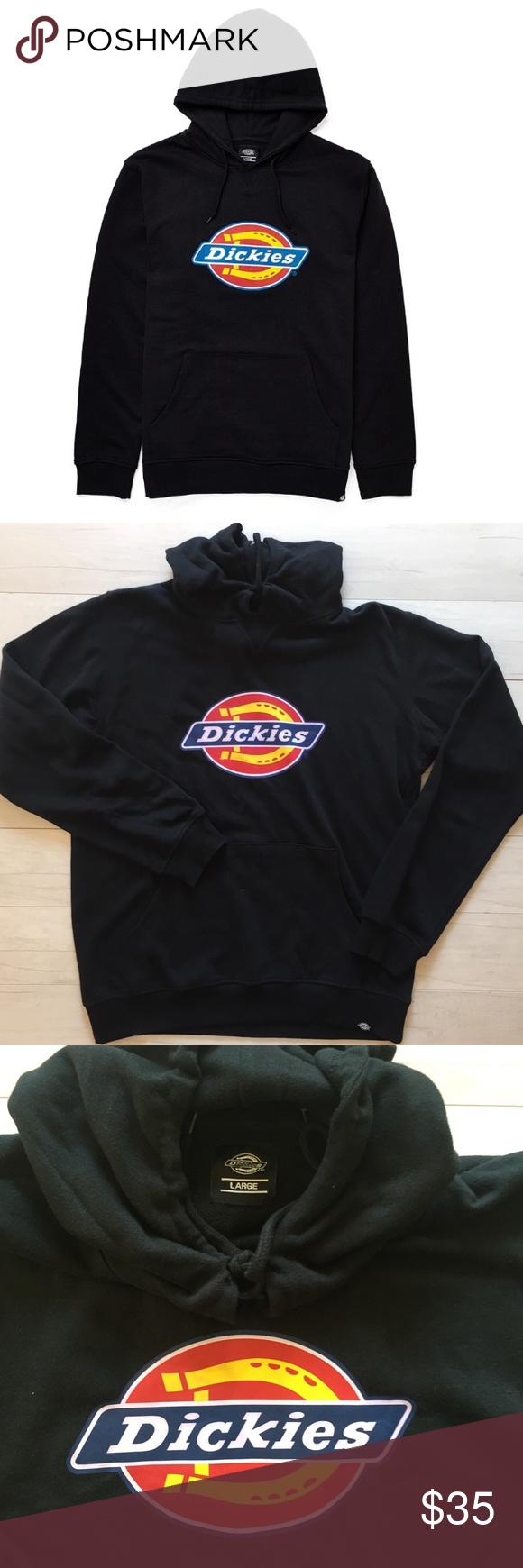Dickies Logo Hoodie Mens Black Sz Large Cotton Mens Sweatshirts Hoodie Hoodies Men Sweatshirts Hoodie [ 1740 x 580 Pixel ]