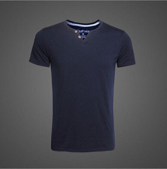 Men's Casual Sporty Button V-Neck Tee-Shirt M-3XL 4 Colors
