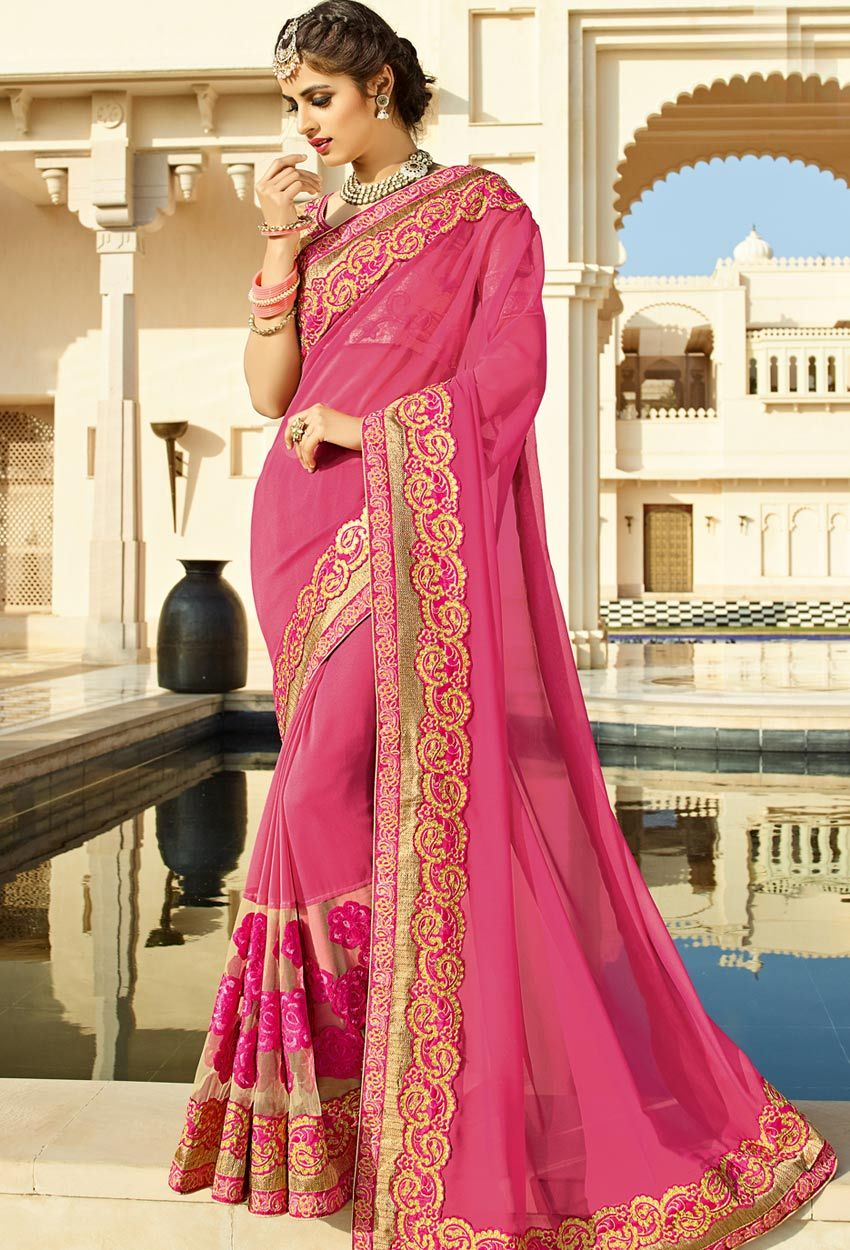 Chiku #Pink Georgette #Party #Wear #Saree #nikvik #usa #designer ...