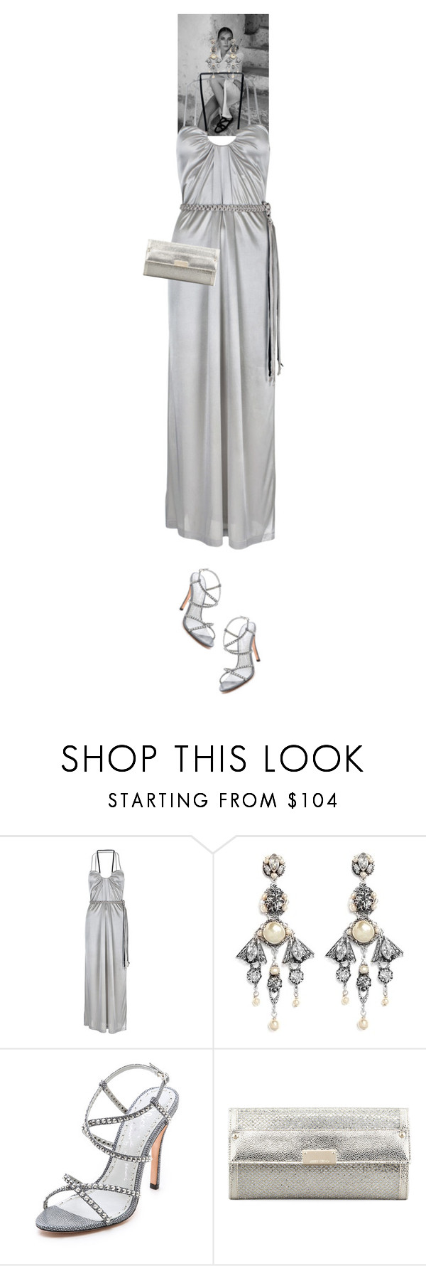 """Victoria Elise #6865"" by canlui ❤ liked on Polyvore featuring Nicola de Main, Miriam Haskell, Alice + Olivia, Jimmy Choo and fallwedding"