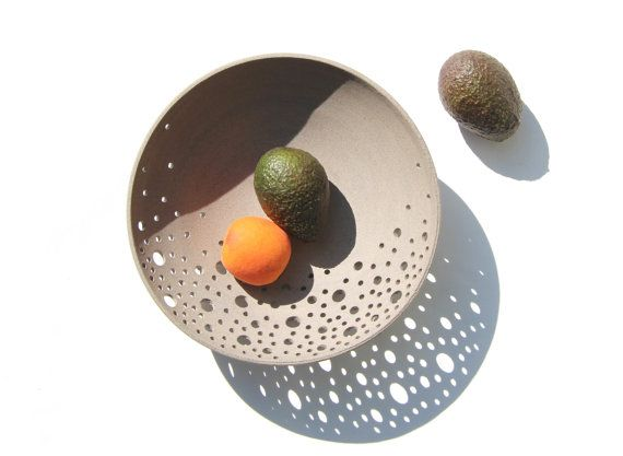 Modern Pottery Fruit Bowl In Grey Clay Minimalist By