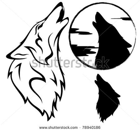 Howling Wolf Vector Illustration Outline Silhouette Against Moon Wolf Illustration Wolf Howling Wolf Silhouette