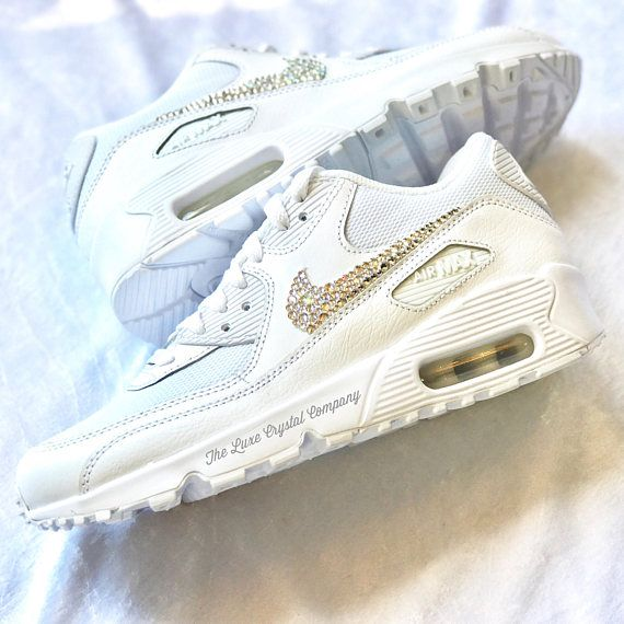 best service a5dcb 8e030 Luxe Crystal Custom Nike Air Max 90 White Wedding Bridal Shoes